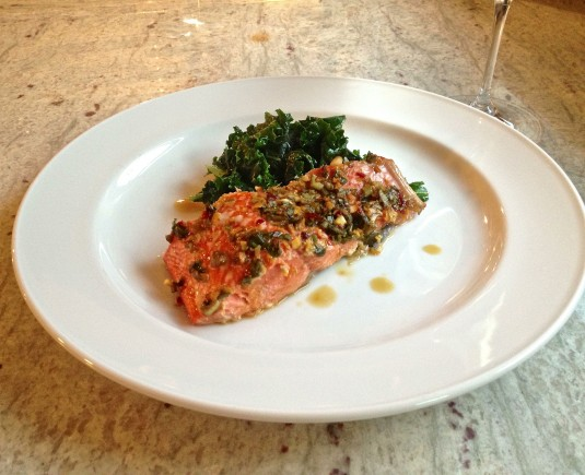roasted salmon with ginger lime glaze and sauteed kale