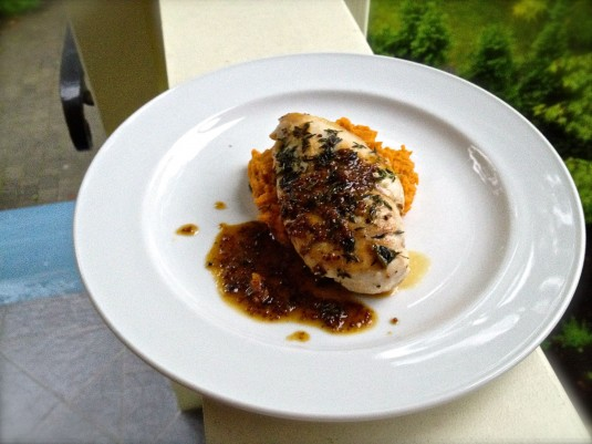 oven roasted chicken with maple mustard sauce