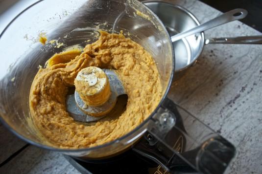 five spice sweet potato puree in processor