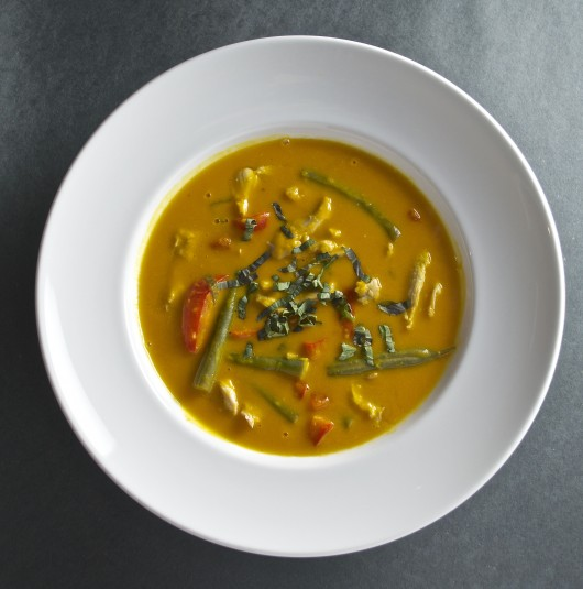 coconut curry squash soup with turkey overhead