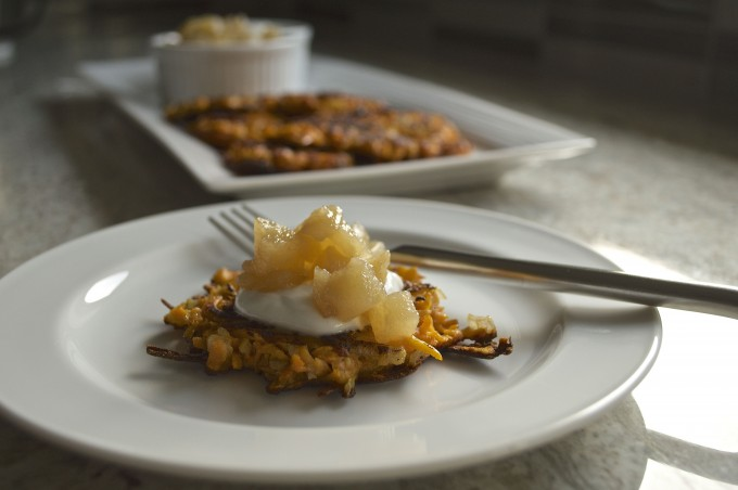 sweet potato latke with pear compote