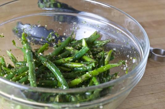 green vegetables parsley sauce tongs