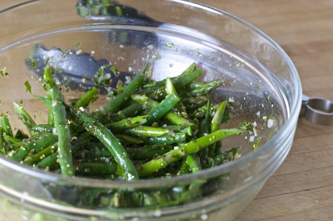 green beans asparagus parsley sauce tongs