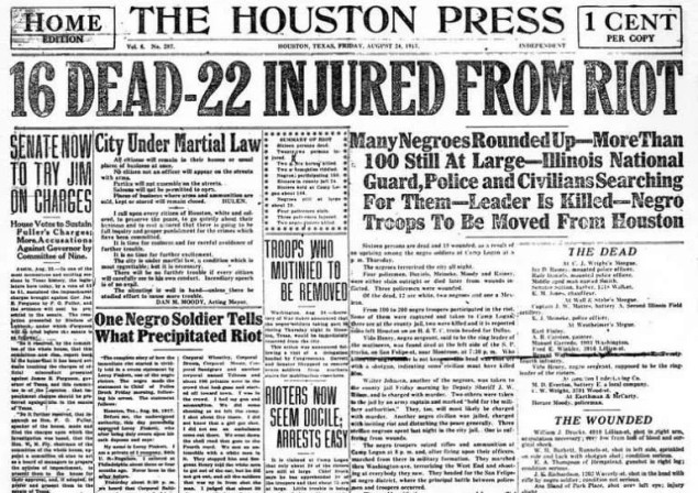 Houston Press front page, August 24, 1917 | Image: Houston Public Library