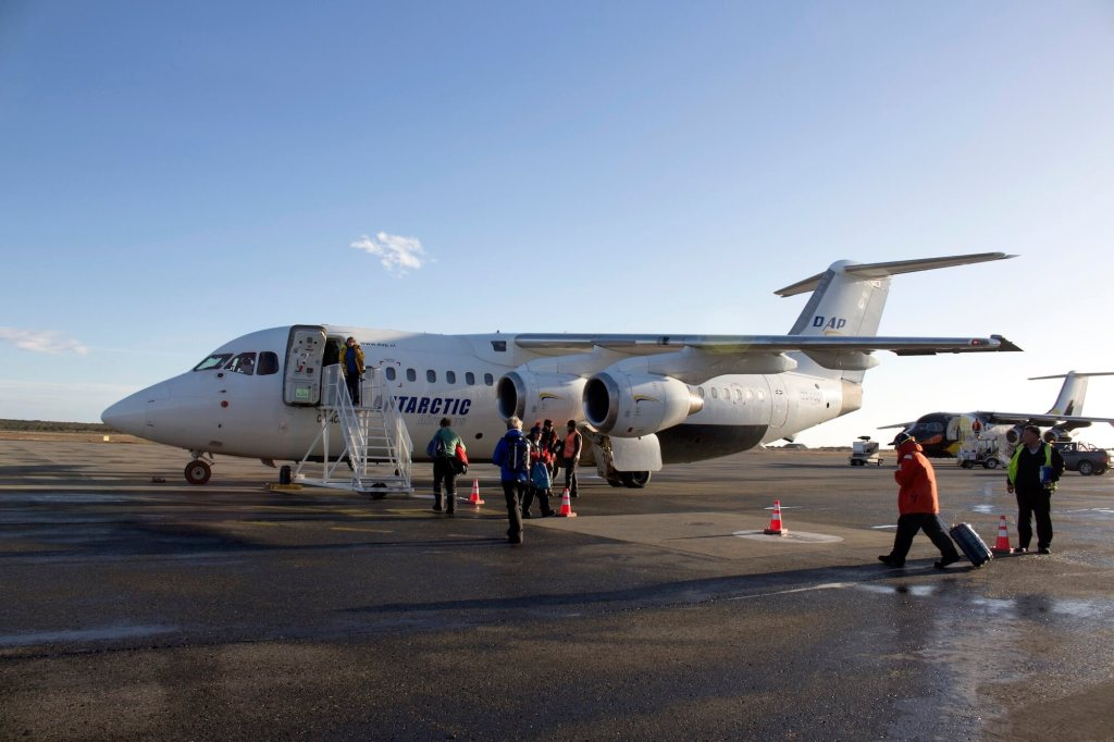 Boarding the aircraft for a direct flight to Antarctica