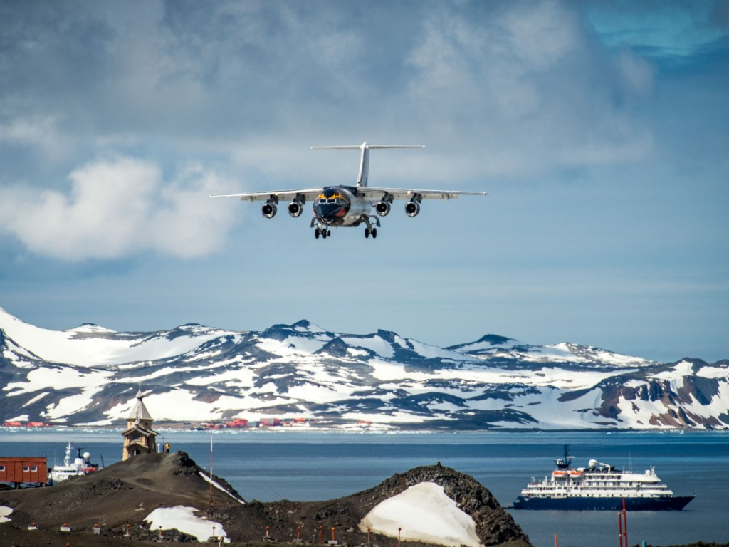 Our aircraft to fly direct to Antarctica, on King George island. Photography by Mathew Farrell on an Antarctic Air-Cruise on board Hedridean Sky.