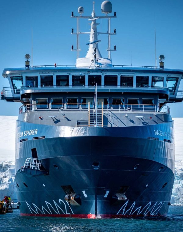 A front view of Magellan Explorer vessel. Photography by Ana Carla Martínez on the Inaugural Air-Cruise.