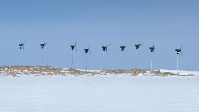 Nine Wind Turbines