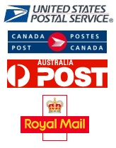 USPS, Royal Mail, Canada Post, Australia Post