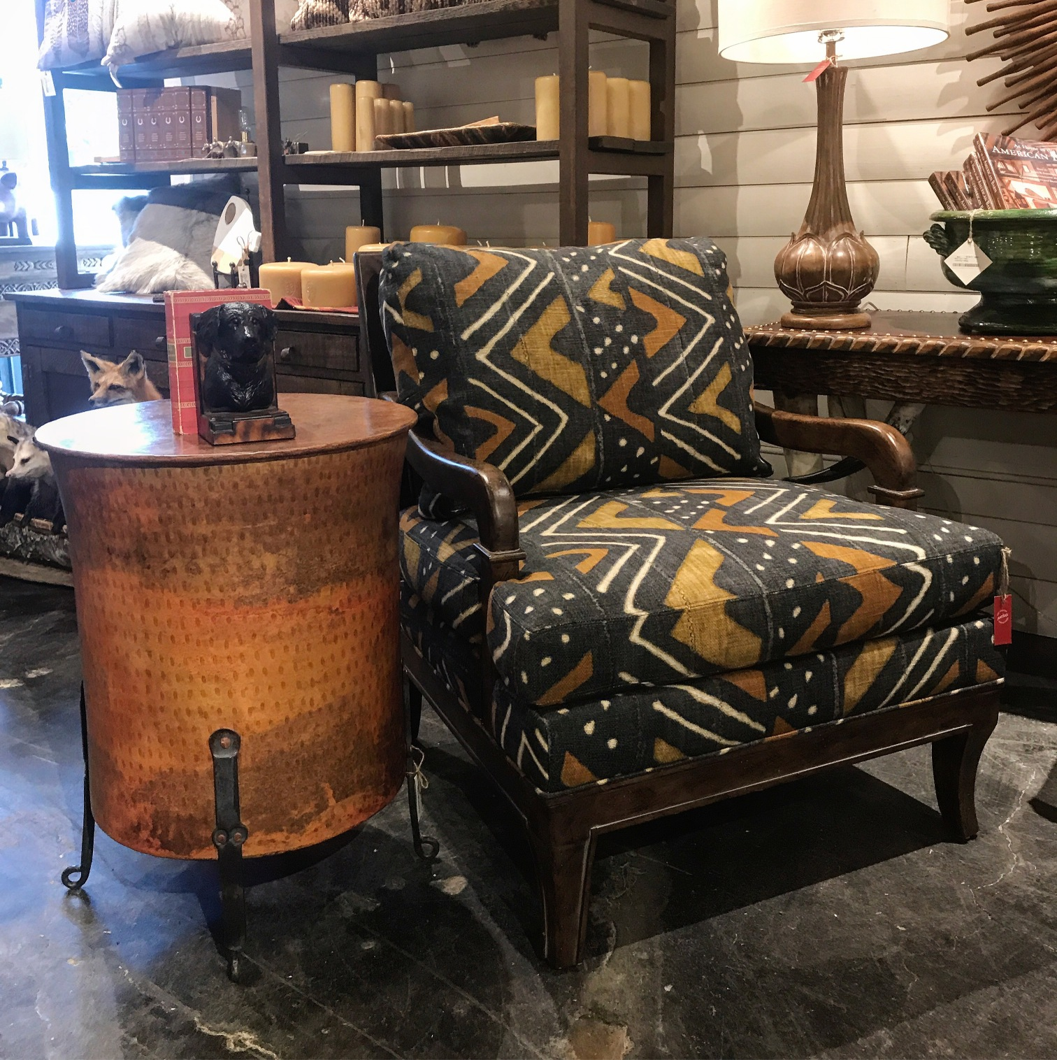rustic accent chair and side table at