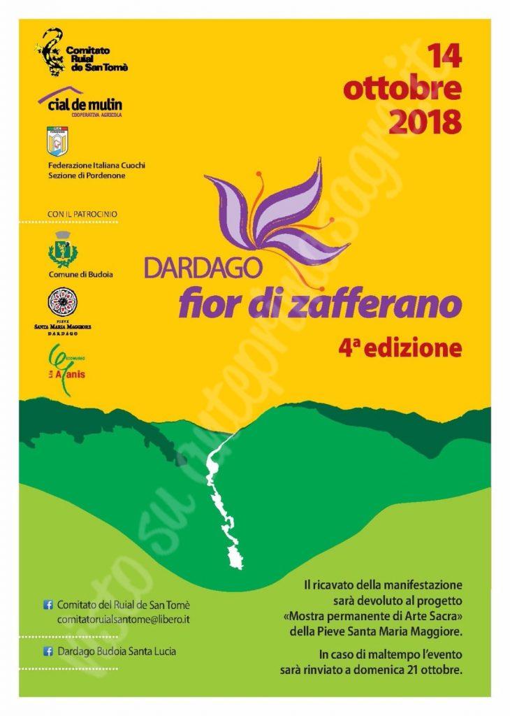 Festa dello zafferano 2018 a Dardago volantino fronte