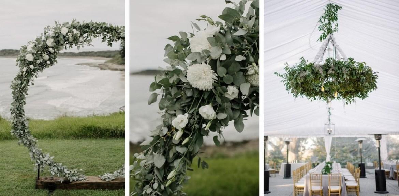 Afbeelding van drie verschillende moongates gemaakt voor een bruiloft