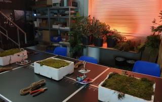 Workshop Groendecoratie van Antérieur Authentique op locatie in een industriele bedrijfssetting met op de achtergrond tafel met groen en fraai verlichte wand.