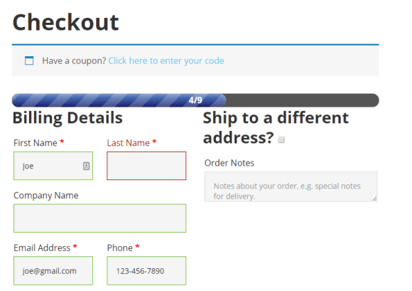WooCommerce Checkout  Progress Bar in Action