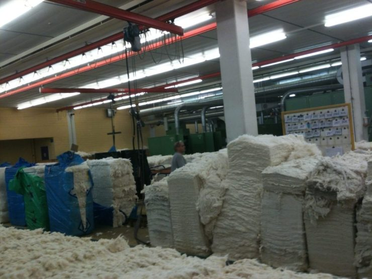 Bales of cotton at a Hermann Bühler spinning mill