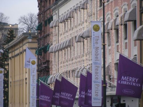 Banners in the street in Oslo