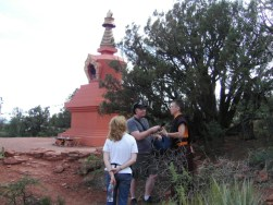 Interviewing a monk near the Stupa