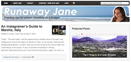 Cool travel blogs - go to Runaway Jane