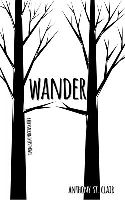 Wander book cover - two black trees on a white background