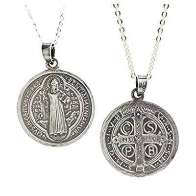 Amuletos de Protección Poderosos Medalla de San Benito plata de ley