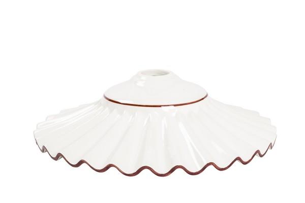 Lampadari fai da te per case, uffici, bar, ristoranti(ottone antico). Antica Soffitta Piatto Paralume Ceramica Plissettato 38cm Marrone Lampadario