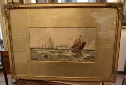 Tempera a soggetto nautico, datata 1892.