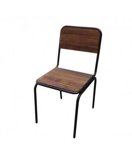 chaise industrielle fer et bois dossier plein cire