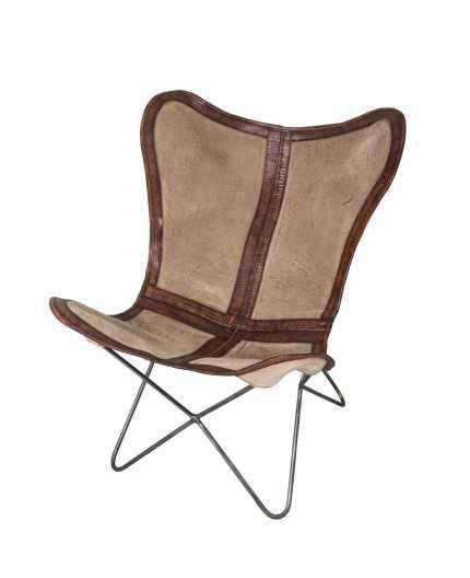 fauteuil butterfly avec cuir et tissus