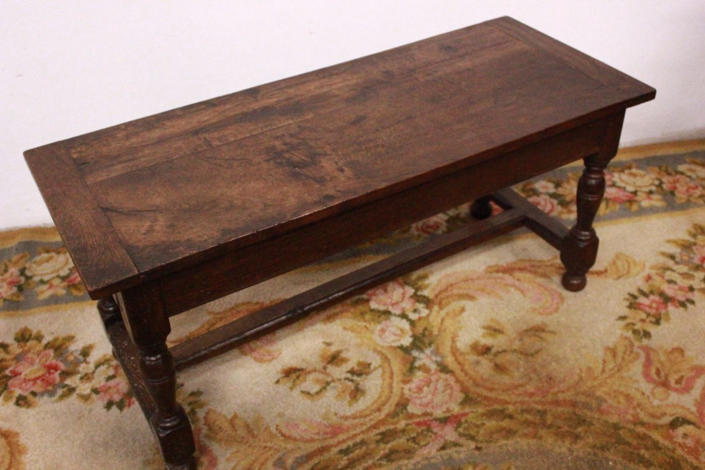 worked legs coffee table wood old