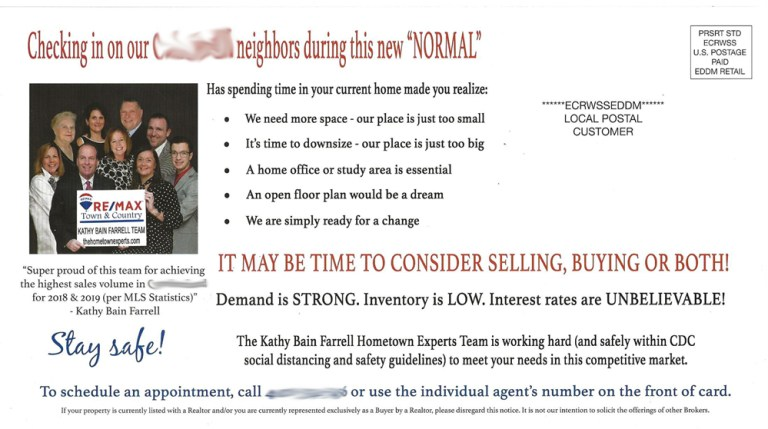 Remax direct mail piece pushing a new normal message