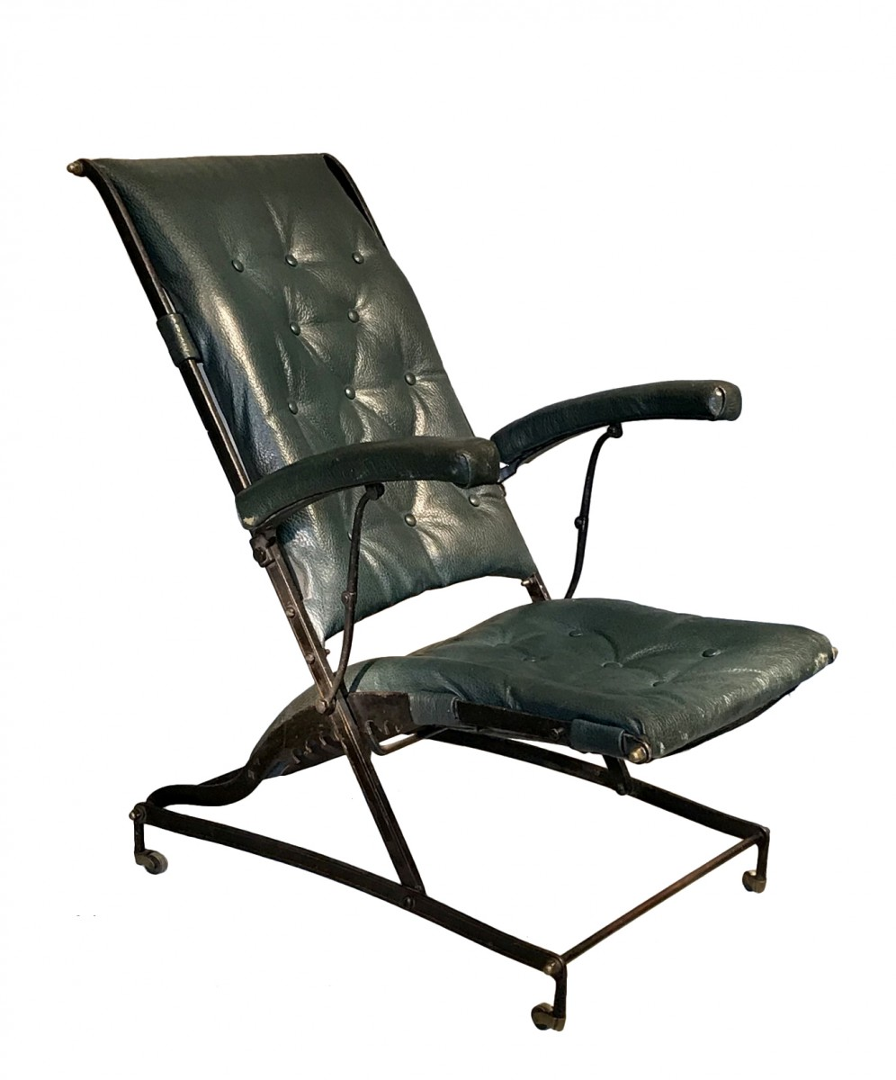 fauteuil en fer forge et cuir vert