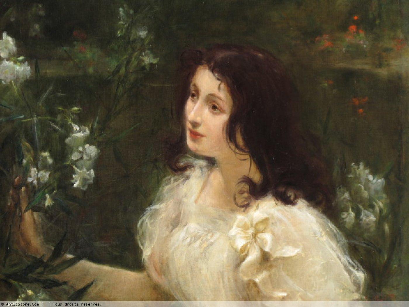 jeune femme au bouquet de fleurs l ollier 1899