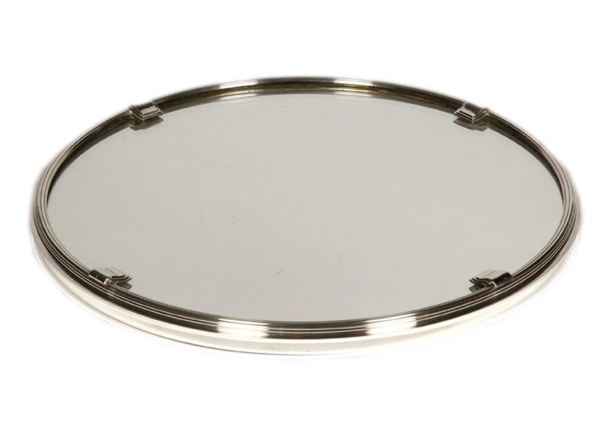orfevre cardeilhac plateau rond en argent massif a fond de miroir art deco
