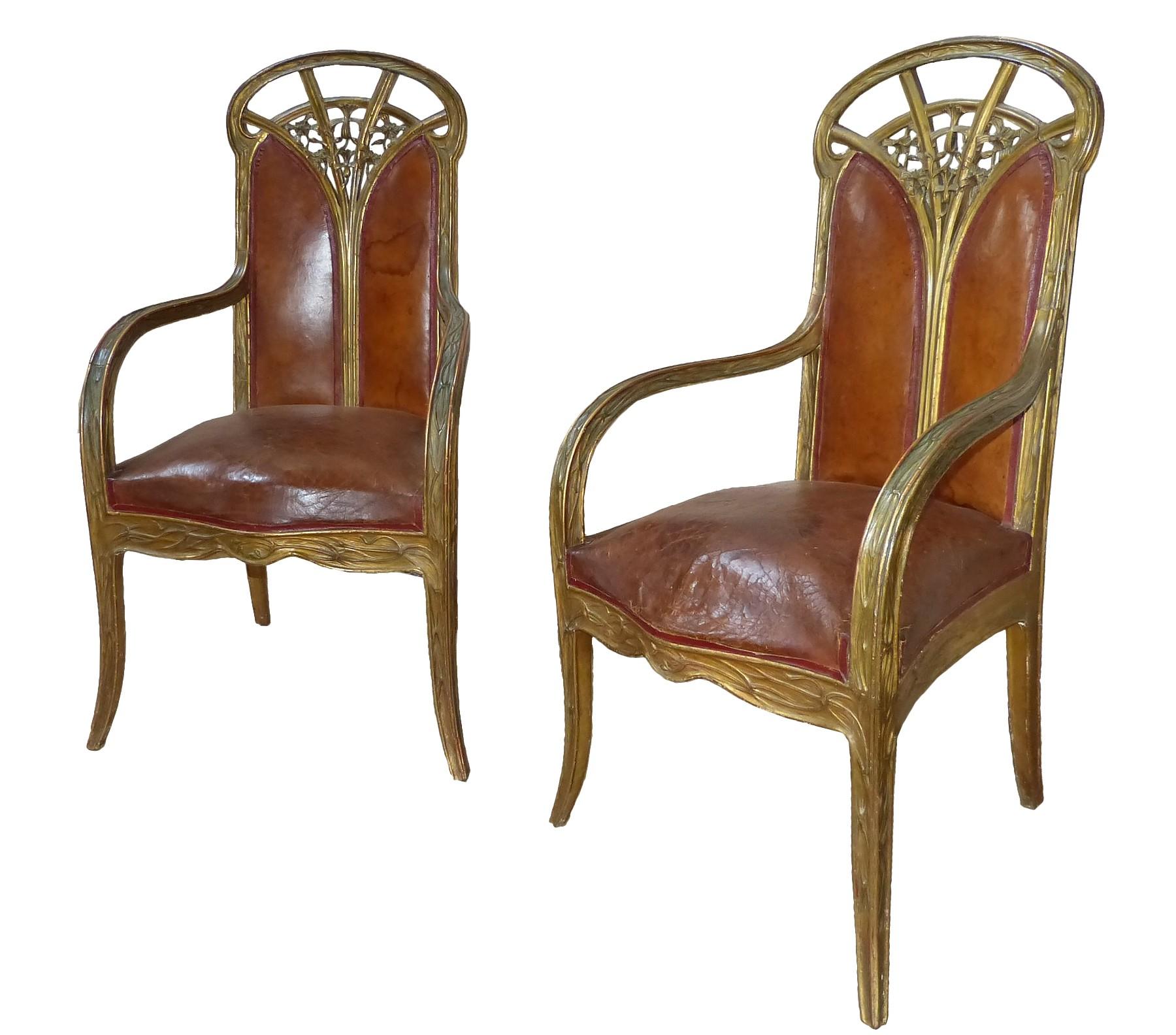 paire de fauteuils art nouveau aux clematites louis majorelle