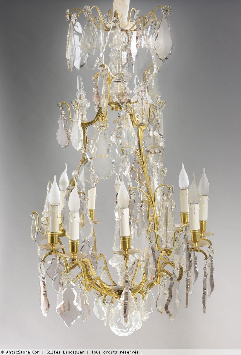 Lustre Cage Pampilles En Cristal XIXe Sicle N25683