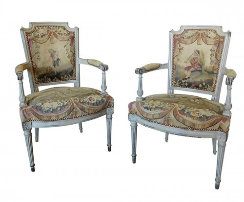 pair of louis xvi cabriolet armchairs 18th century aubusson tapestry
