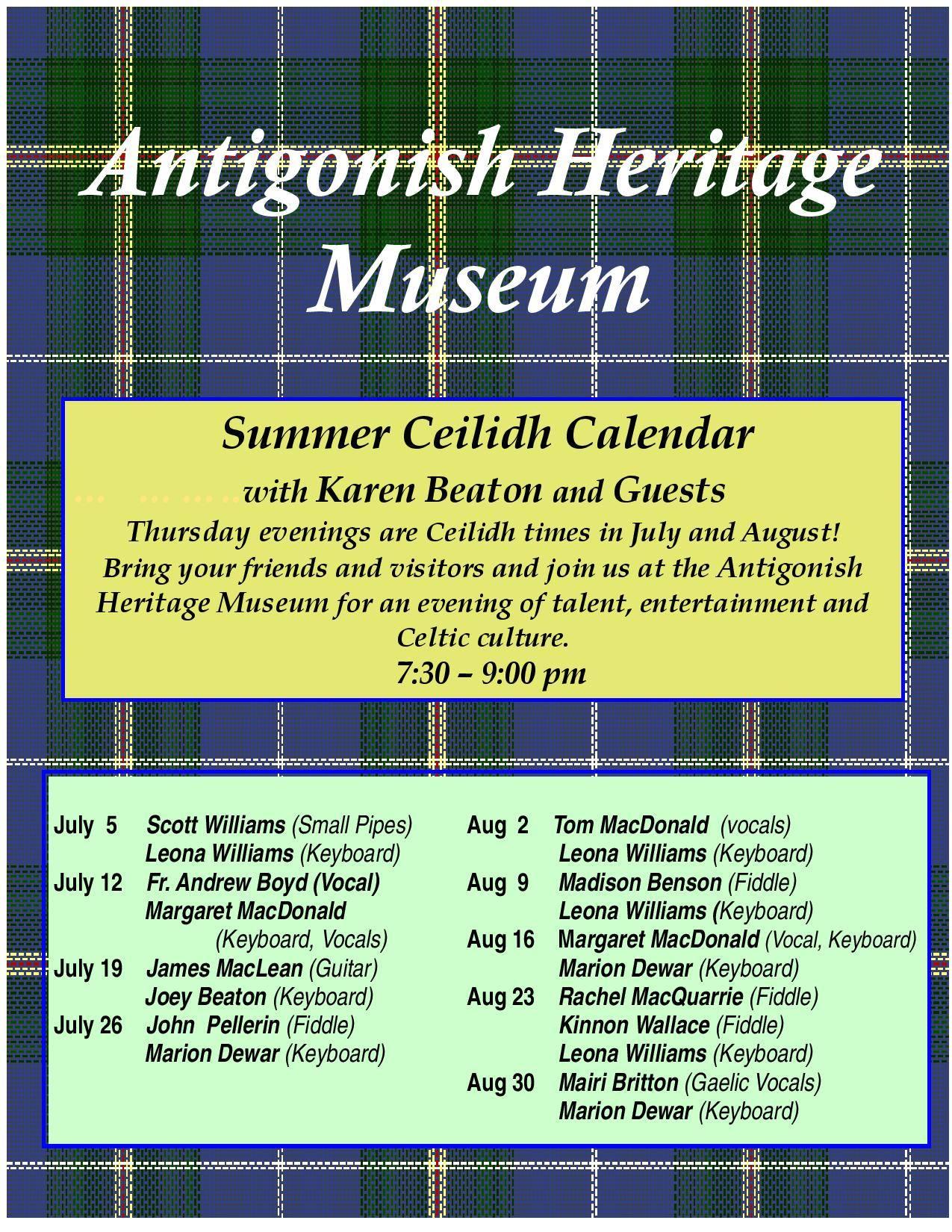 Antigonish Heritage Museum Summer Ceilidh Calendar 2018