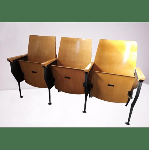 All furniture is handmade in our Sedie Cinema Vintage Fila Da 3 Sedute Ribaltina Legno Metallo Anni 70 Poltrone