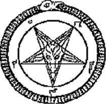 Satanic pentagram with the demon baphomet in the center surrounded with snake eating its own tail