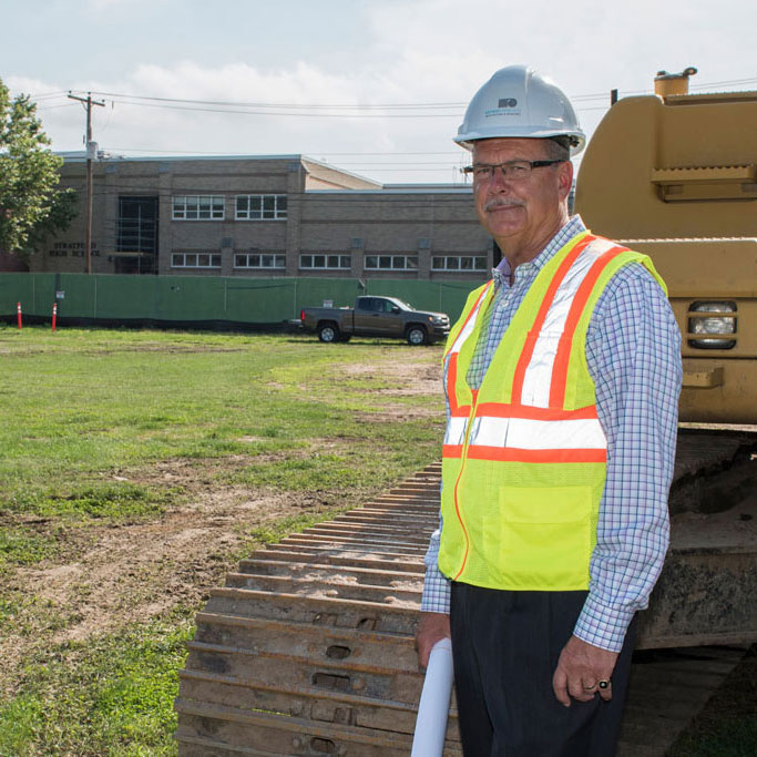 Antinozzi Associates' Geroge Perham revisits alma mater, Stratford High School, during $125 million renovation.