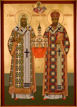 St. Tikhon of Moscow with St. Raphael of Brooklyn: Holding the first St. Nicholas Cathedral as St. Nicholas holds the present Cathedral in his hands at the top of the icon.