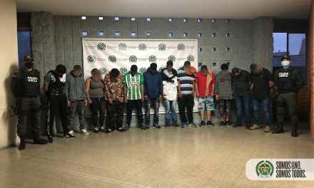 Se capturaron a 12 presuntos integrantes del grupo delincuencial 'San Gabriel' de Itagüí