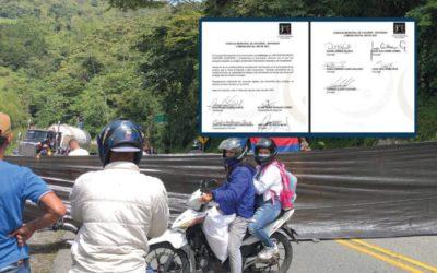 El Concejo de Cocorná habló sobre el documento anónimo que señala a supuestos responsables de bloqueos