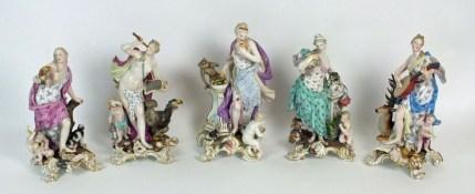 Meissen porcelain figures, allegorical of the senses