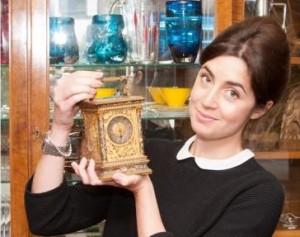 A cloisonné enamel carriage clock at Hansons Auctioneers