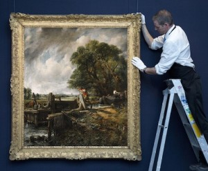 Constable's The Lock being hung at Sotheby's