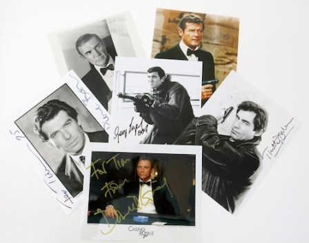 Signed photographs by actors who have played James Bond