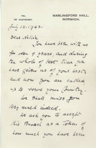 Letter in Fellows' auction