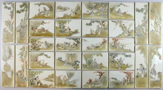 Set of 28 Chinese porcelain tiles