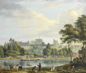 Paul Sandby's Windsor Castle from the Thames with figures in the foreground